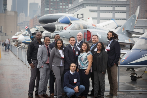 Award-winning CUNY students on flight deck of the USS Intrepid Sea Air Space Museum